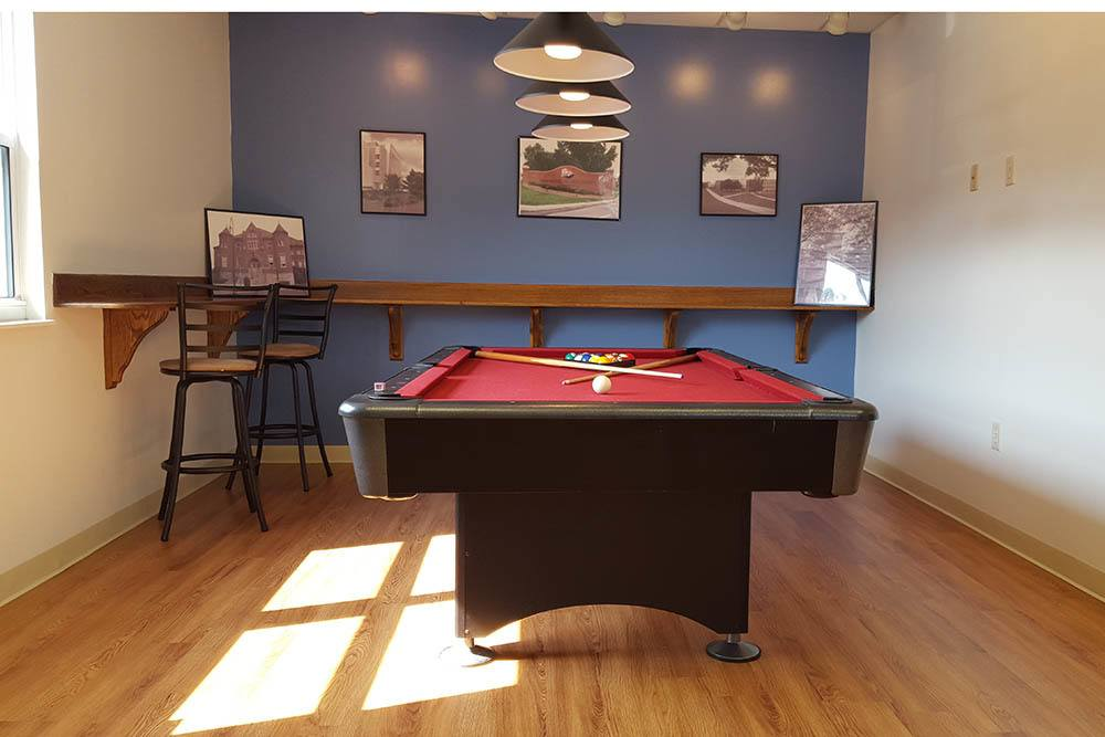 Resident Lounge Pool Table At Our Student Apartments In Shippensburg Pa