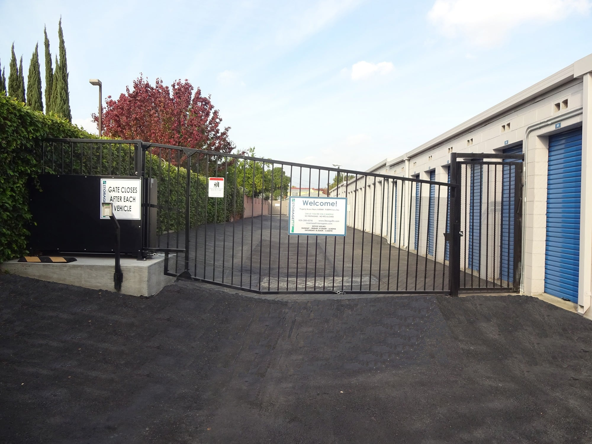 Secure Entrance Gate at Storage Etc... Rosemead