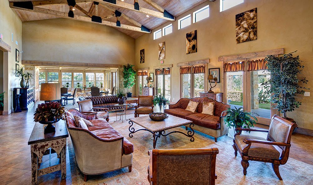 Enjoy a coffee in the club house of Marquis at Canyon Ridge, Austin