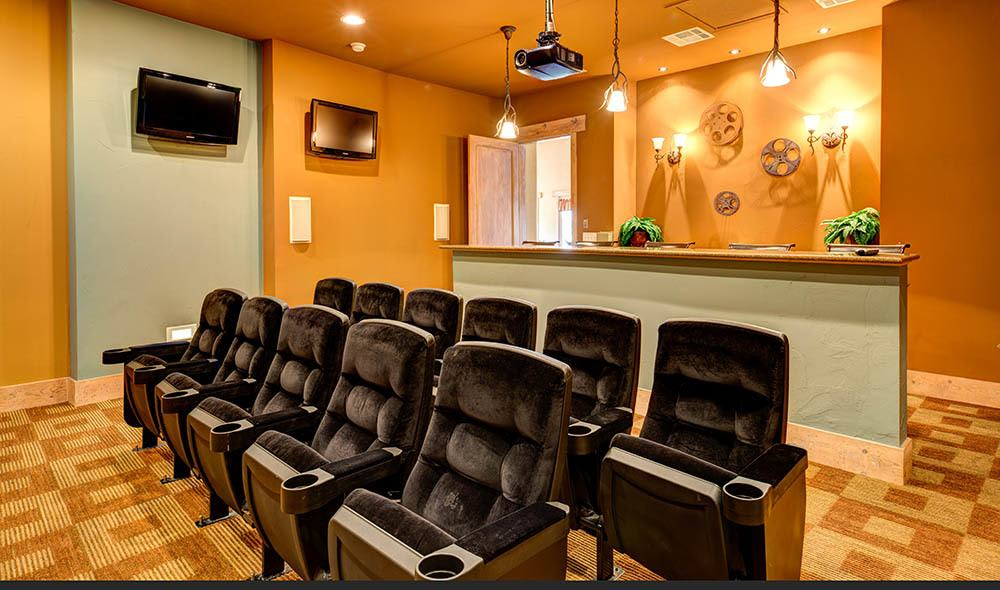 Community entertainment room at Marquis at Canyon Ridge, Austin