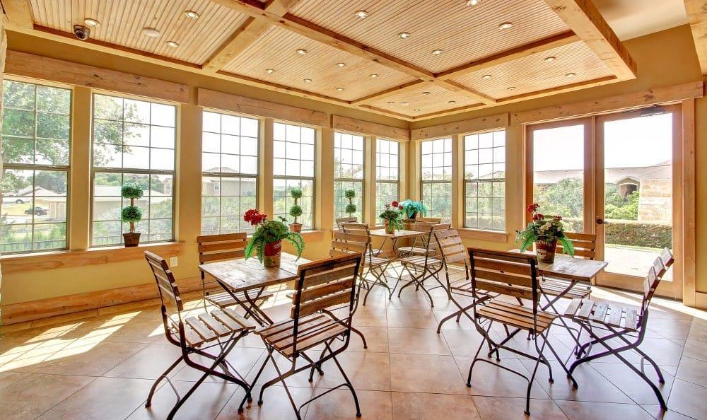 Community club house sun room at Marquis at Canyon Ridge
