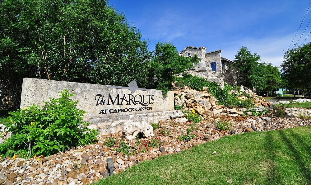 The Entrance sign at Marquis at Caprock Canyon in Austin, Marquis at Caprock Canyon