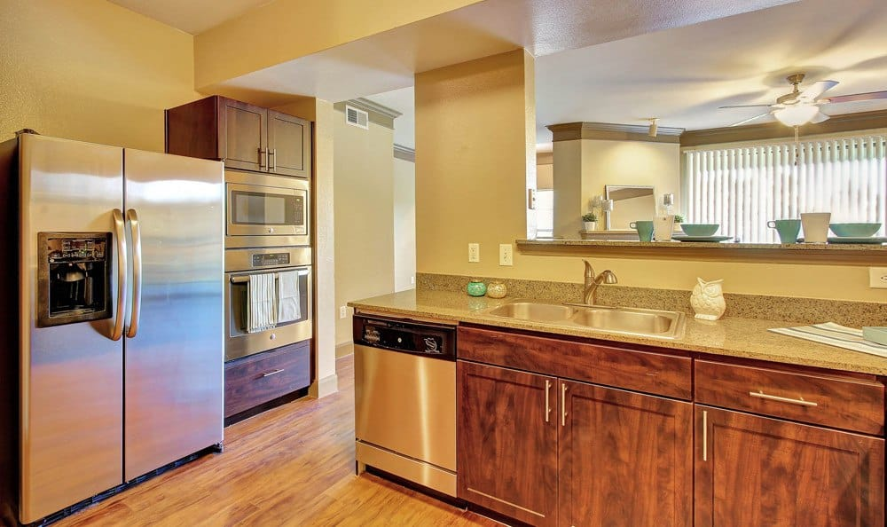 An example kitchen at the apartments for rent in Austin, TX