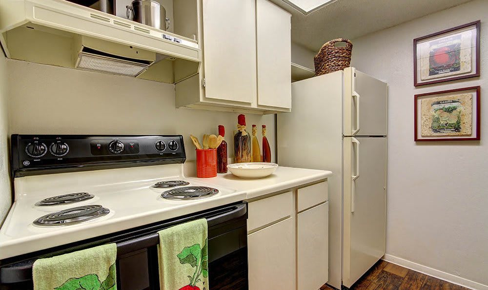 An example kitchen at the apartments for rent at Northwest Hills