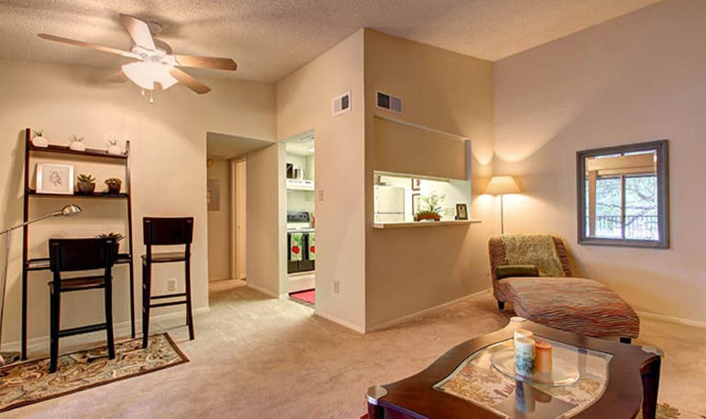 Another view of the living room at the apartments for rent in Austin, TX