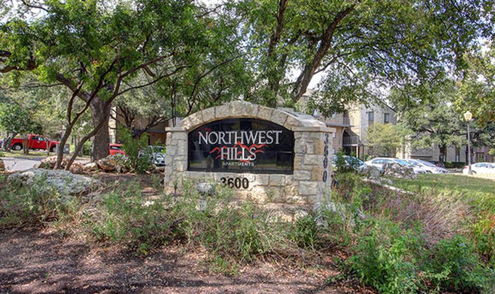 The Entrance sign at Northwest Hills in Austin, Northwest Hills