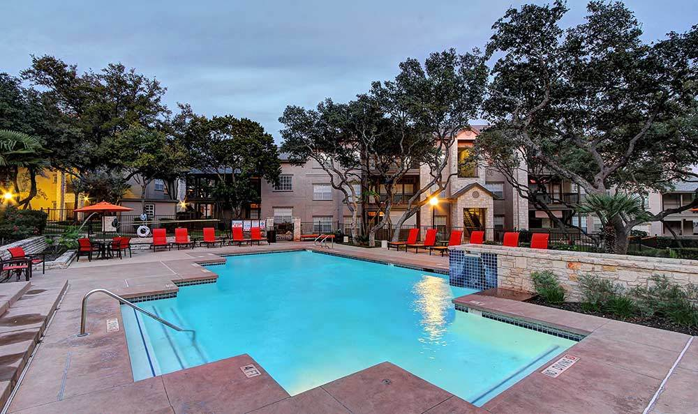 Night view of swimming pool at Marquis at Deerfield