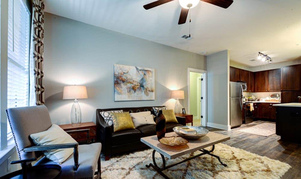 Model living room of The Jane Atlanta in Atlanta