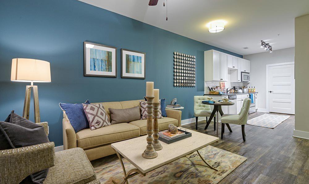 Enjoy company in the living room at The Jane Atlanta in Atlanta, GA