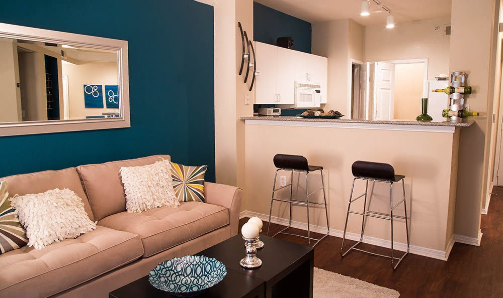 An example apartment living room at Marquis on Gaston