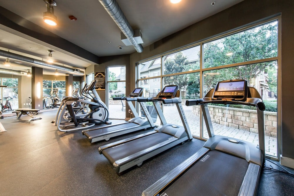 Well equipped gym at The Marquis of State Thomas in Dallas