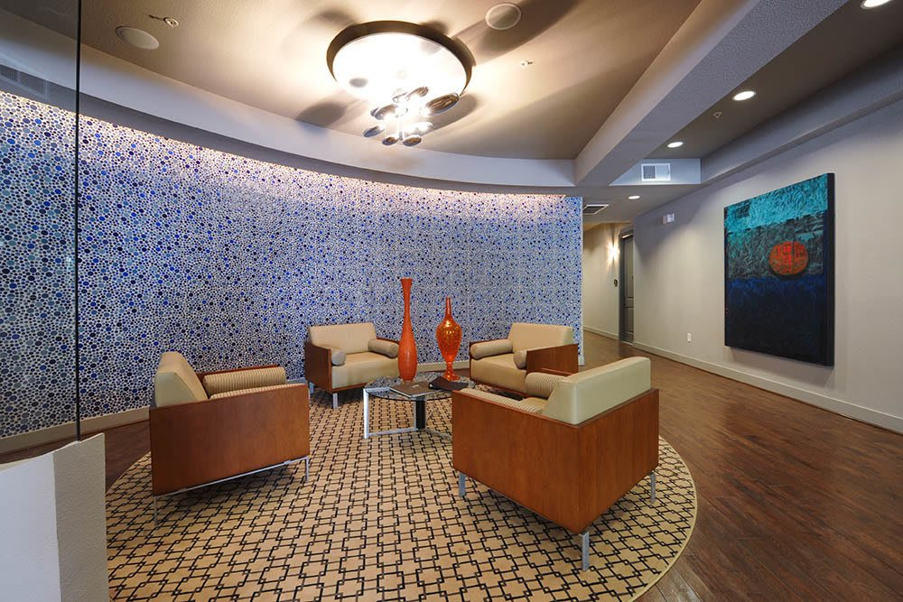 luxury lobby room at apartments The Marquis of State Thomas in Dallas