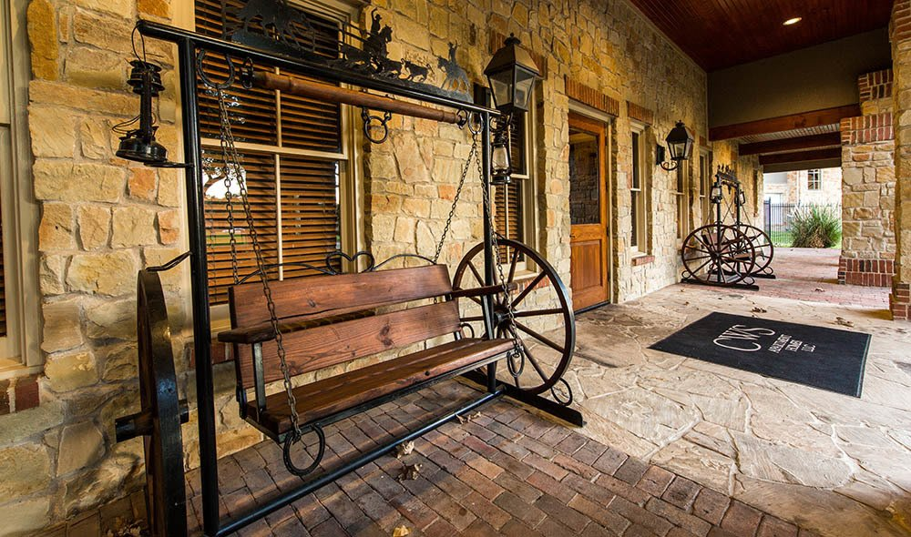 Entrance of the leasing office in Marquis at Bellaire Ranch, Fort Worth