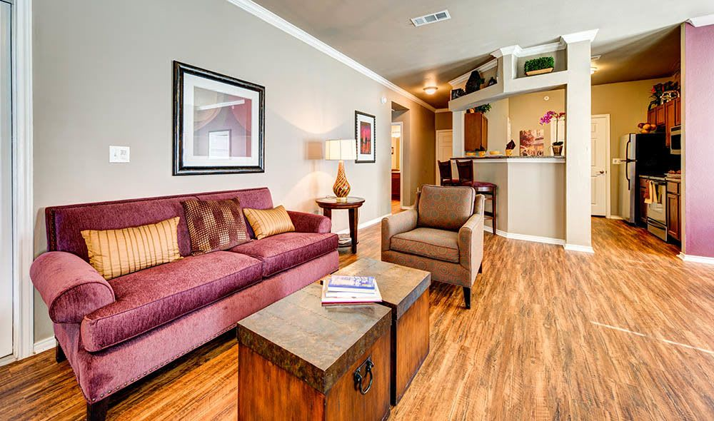 Comfortable living room at Marquis at Bellaire Ranch, Fort Worth