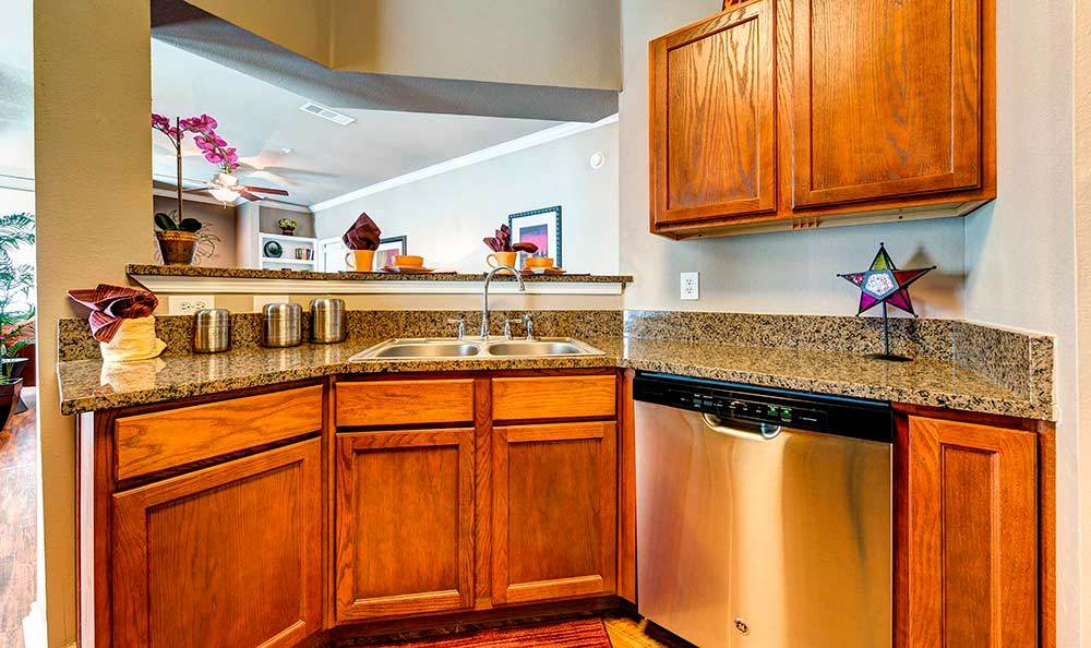 Stainless steel appliance in kitchens at Marquis at Bellaire Ranch in Fort Worth, TX