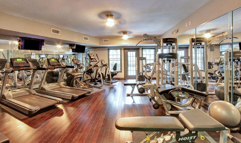 Fitness center at Marquis at Tanglewood in Houston, TX