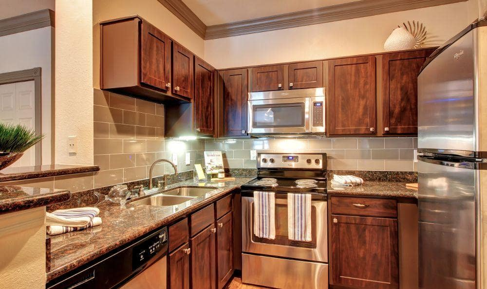 fully equipped kitchen room at Marquis at Tanglewood in Houston, TX