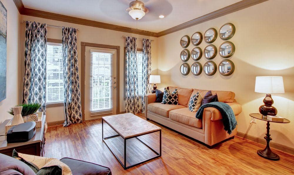 well decorated living room at Marquis at Tanglewood in Houston, TX