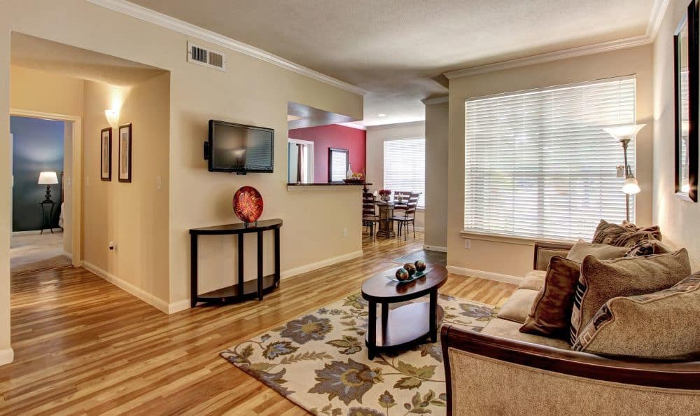Comfy living room at apartments Marquis at Westchase in Houston