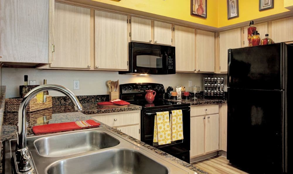 Spacious kitchen room at apartments Marquis at Westchase in Houston