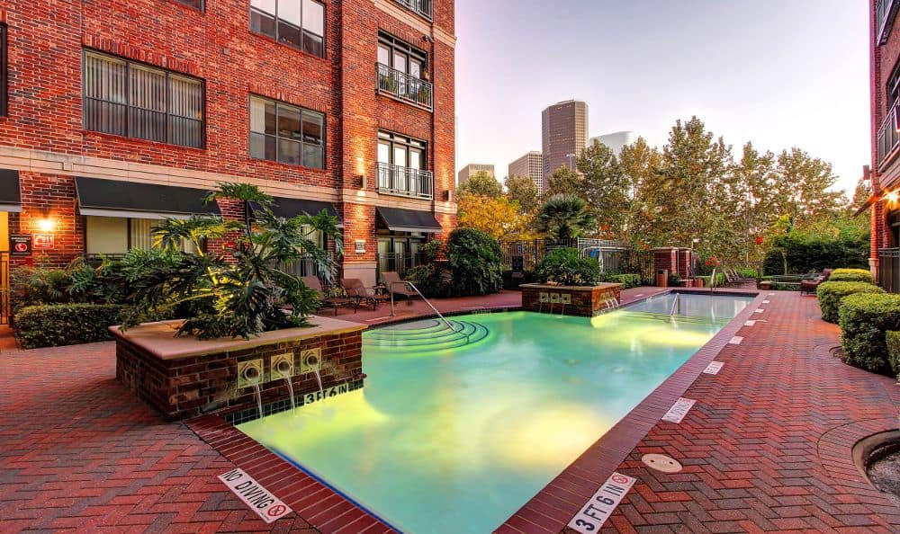 illuminated pool at apartments in Houston, TX