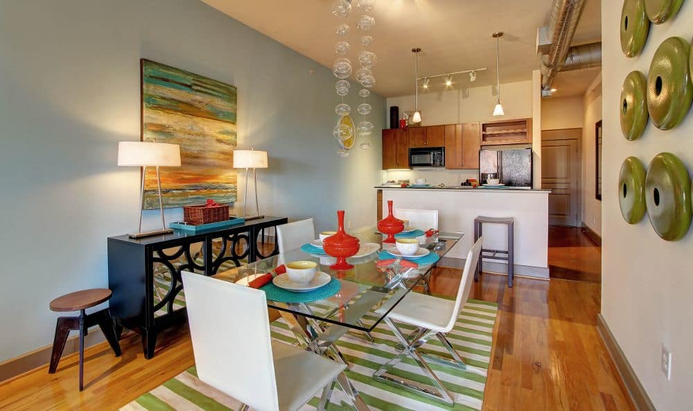 kitchen dining room combo at apartments in Houston, TX