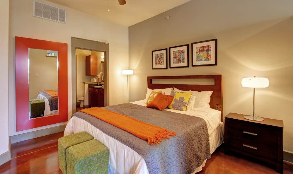 well decorated bedroom at apartments in Houston, TX