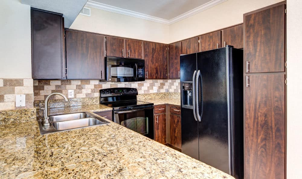 Beautiful granite counter tops available at the apartments for rent in Houston, TX