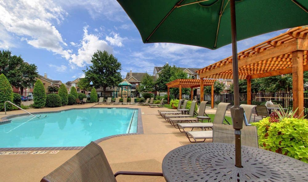 Umbrellas available for hot summer days at Marquis on Park Row's pool