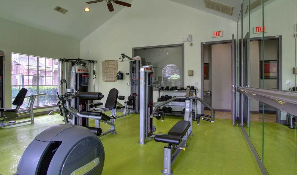Weight training at the Marquis on Park Row's gym