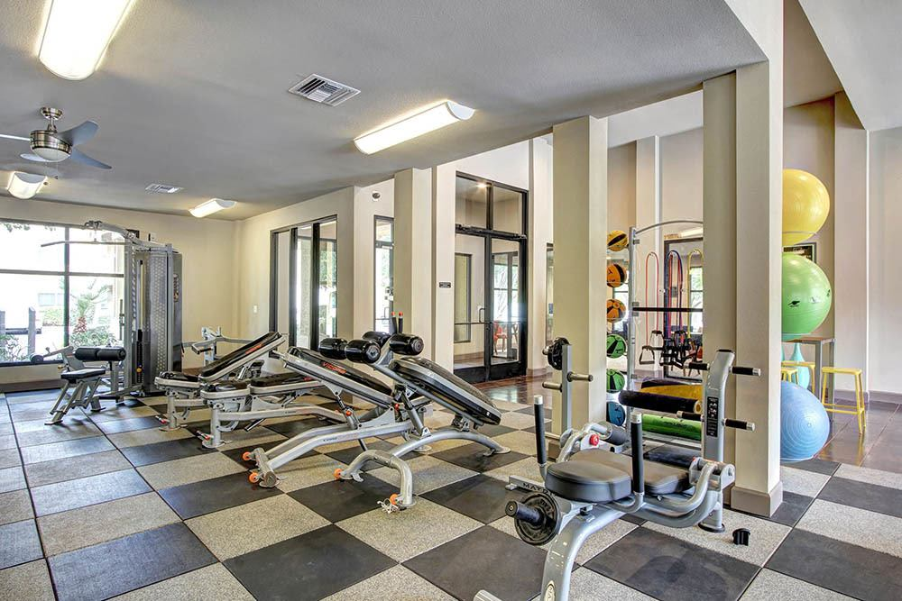 Fitness center with medicine balls at The Marquis at Barton Trails