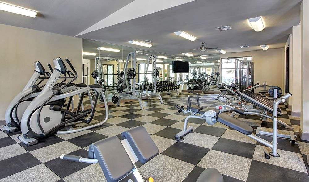 Fitness center equipped with eliptical at The Marquis at Barton Trails in Austin