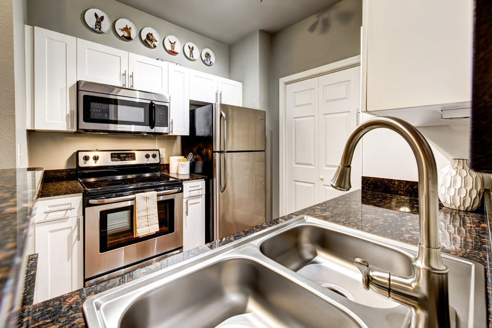 Stainless steel kitchen at apartments in Dallas, TX