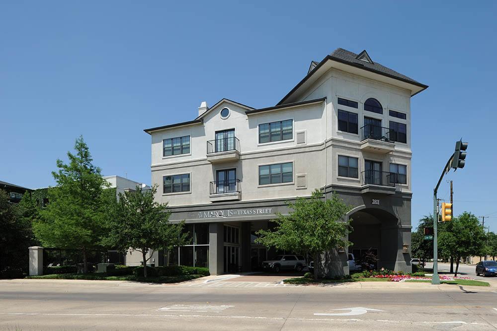 Entry at apartments in Dallas, TX