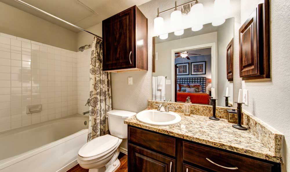 Example bathroom at Marquis at Lantana in Flower Mound, TX