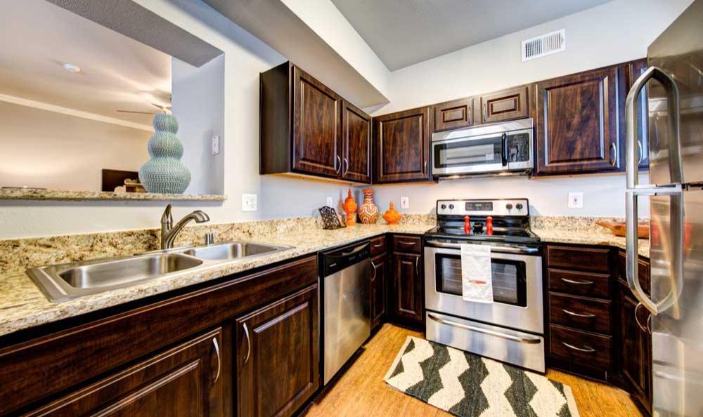 Apartment kitchen at Marquis at Lantana in Flower Mound, TX
