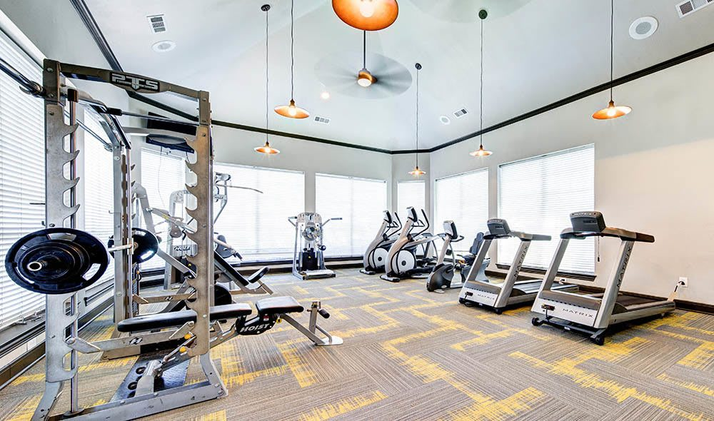 Weight training station at the fitness center of Marquis at Stonebriar