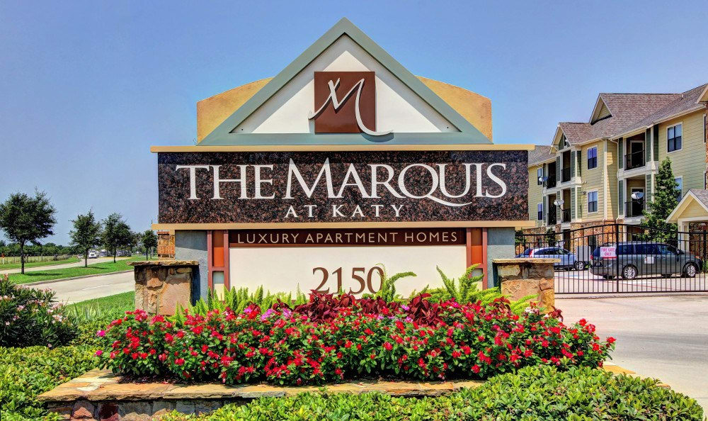 The Entrance sign at The Marquis at Katy in Katy, TX