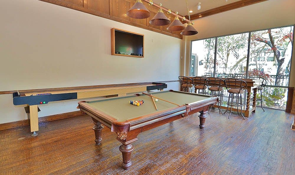 Pool table at Marquis at Waterview