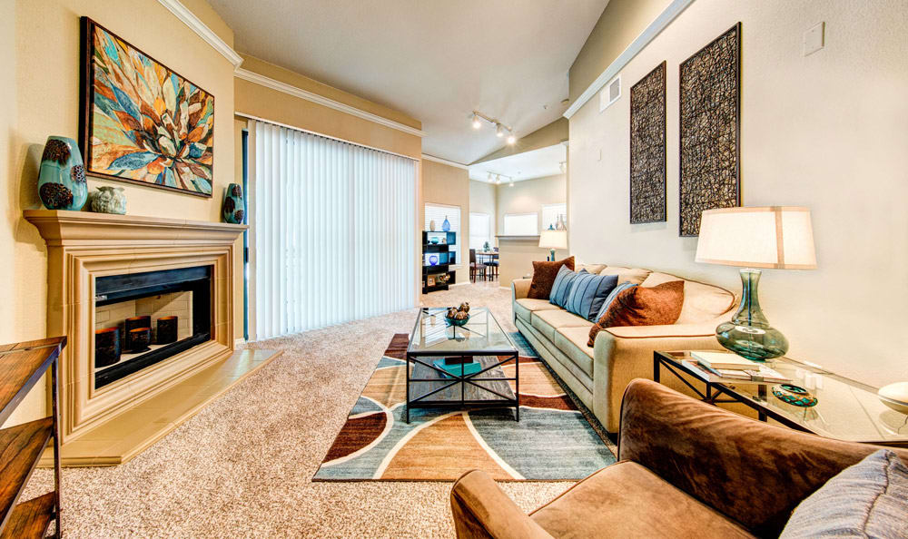 Model living room at Marquis at Waterview