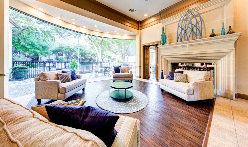 Lounge in clubhouse of Marquis at Waterview in Richardson