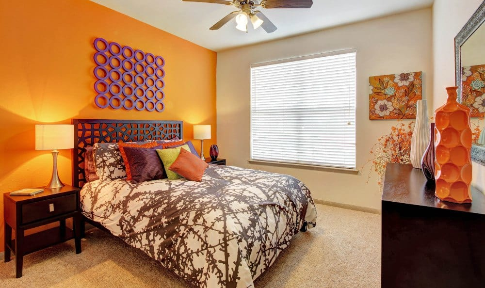 Model bedroom at Marquis at The Woodlands