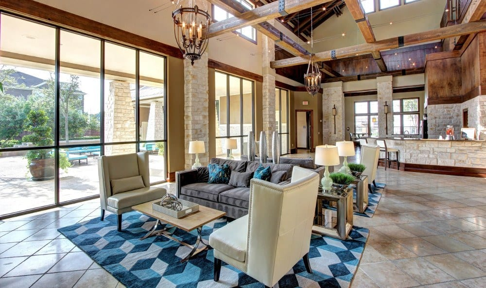 Enjoy talking in the lobby at Marquis at The Woodlands in Spring, Marquis at The Woodlands