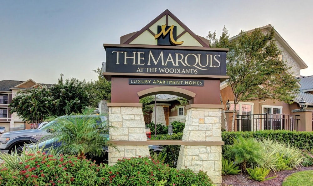 The Entrance sign at Marquis at The Woodlands in Spring, Marquis at The Woodlands
