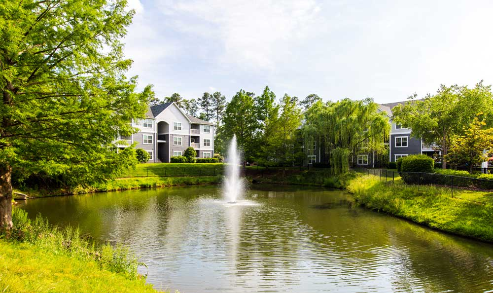 Fountain pond at apartments in Morrisville