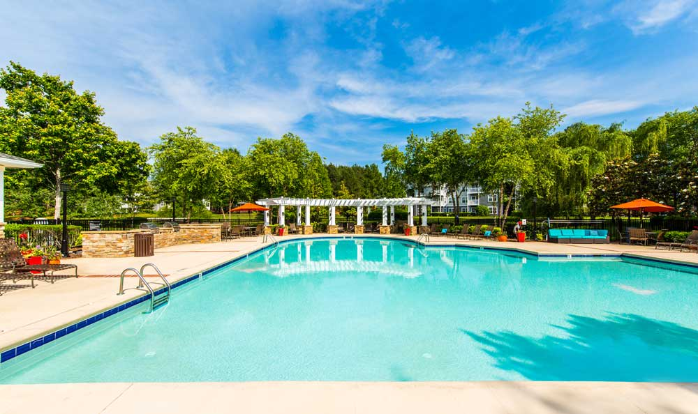 Swimming pool and lounging area at Marquis on Cary Parkway