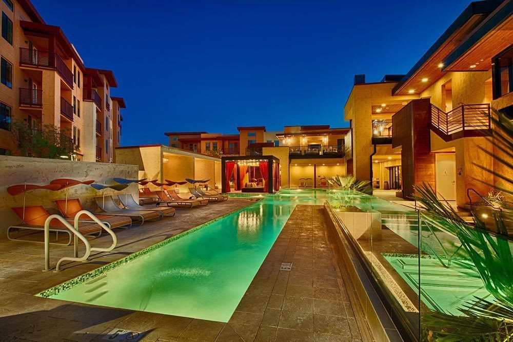 Heated lap pools let you swim anytime day or night at Marquis at Desert Ridge