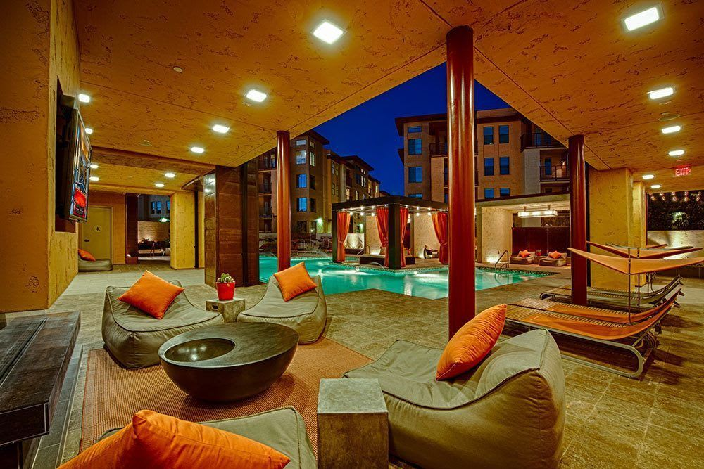 Our poolside cabana at night at Marquis at Desert Ridge in Phoenix, AZ