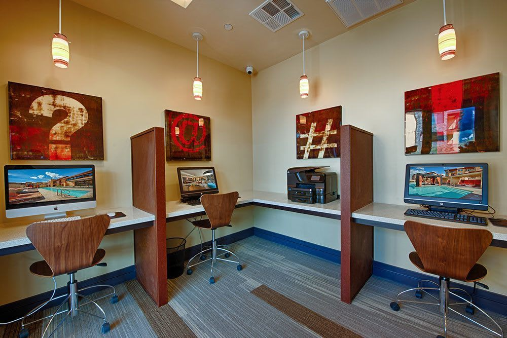 Deluxe business center at Marquis at Desert Ridge in Phoenix, AZ