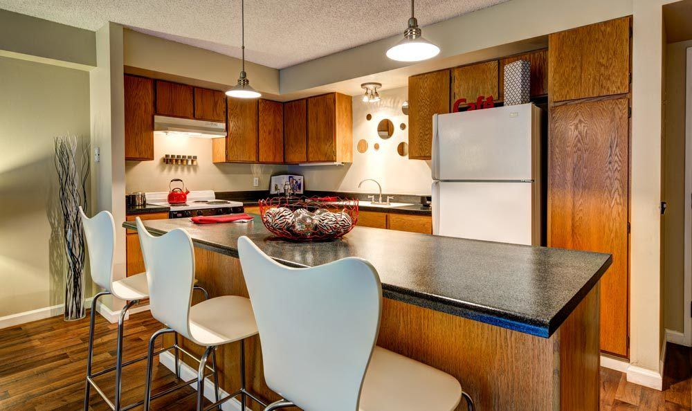 The kitchen is conveniently located at Marquis at the Parkway in Denver, CO